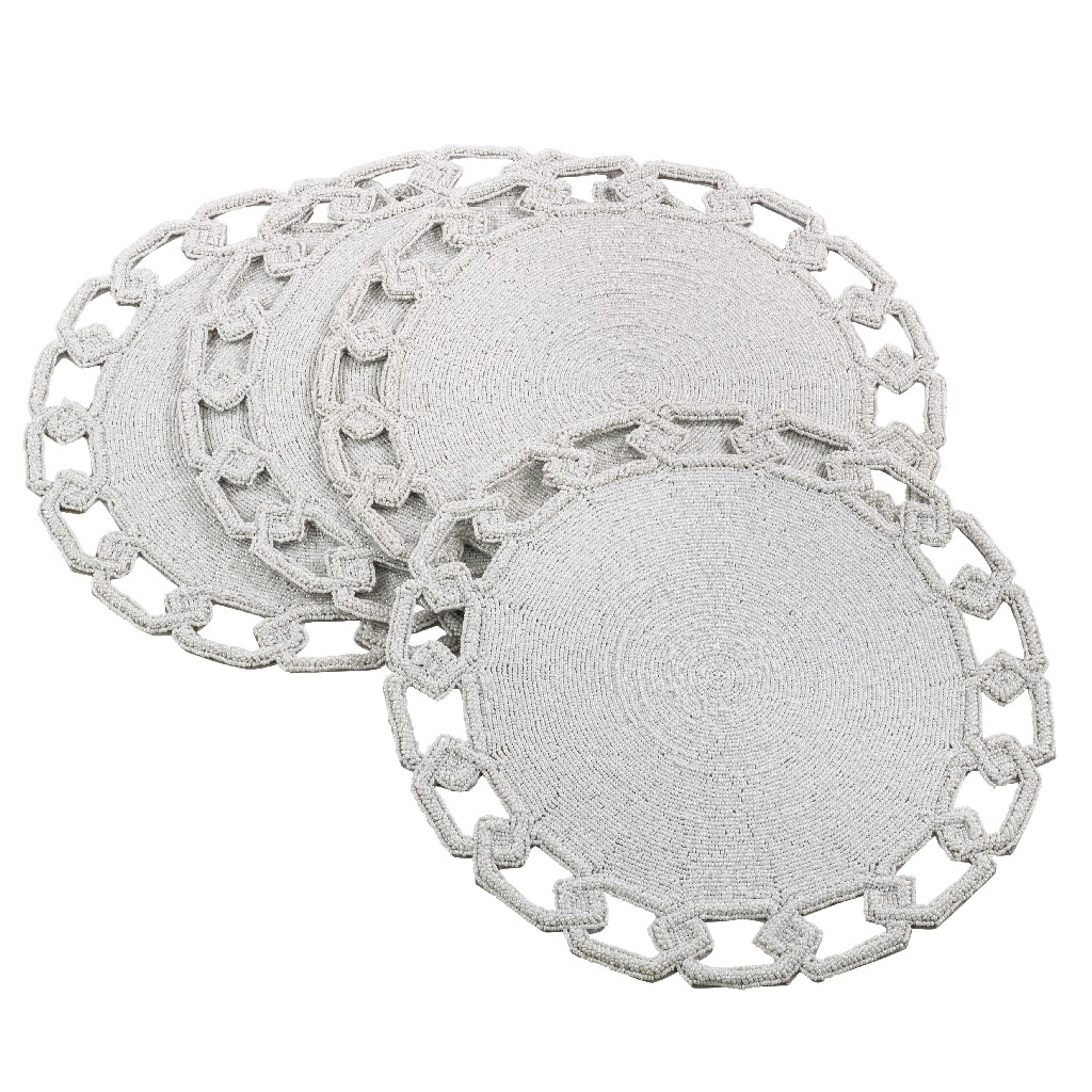 Amara Collection Chain Link Design Beaded Placemat (Set of 4) - Saro Lifestyle 905.W15R