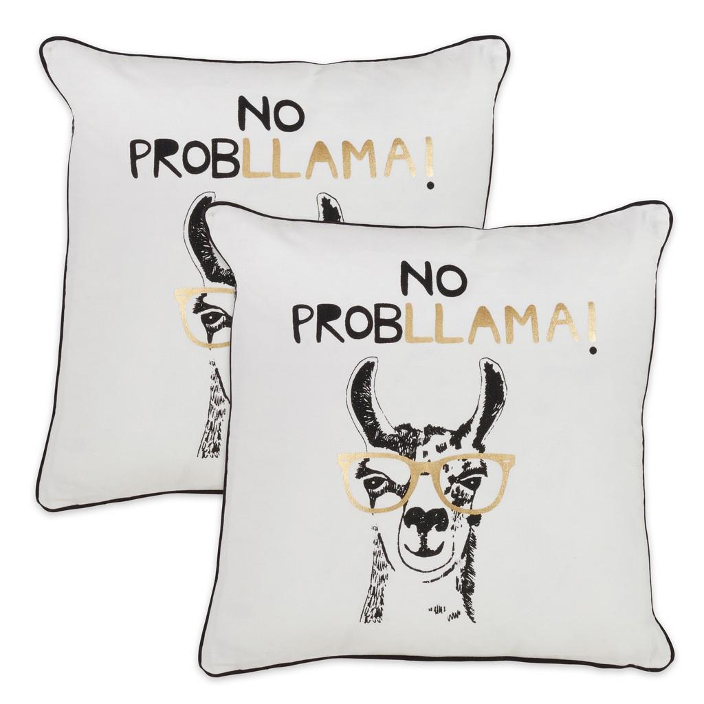 100% Cotton 'No Probllama' Accent Throw Pillow - Cover Only (Set of 2) - Saro Lifestyle 9672.M18SC