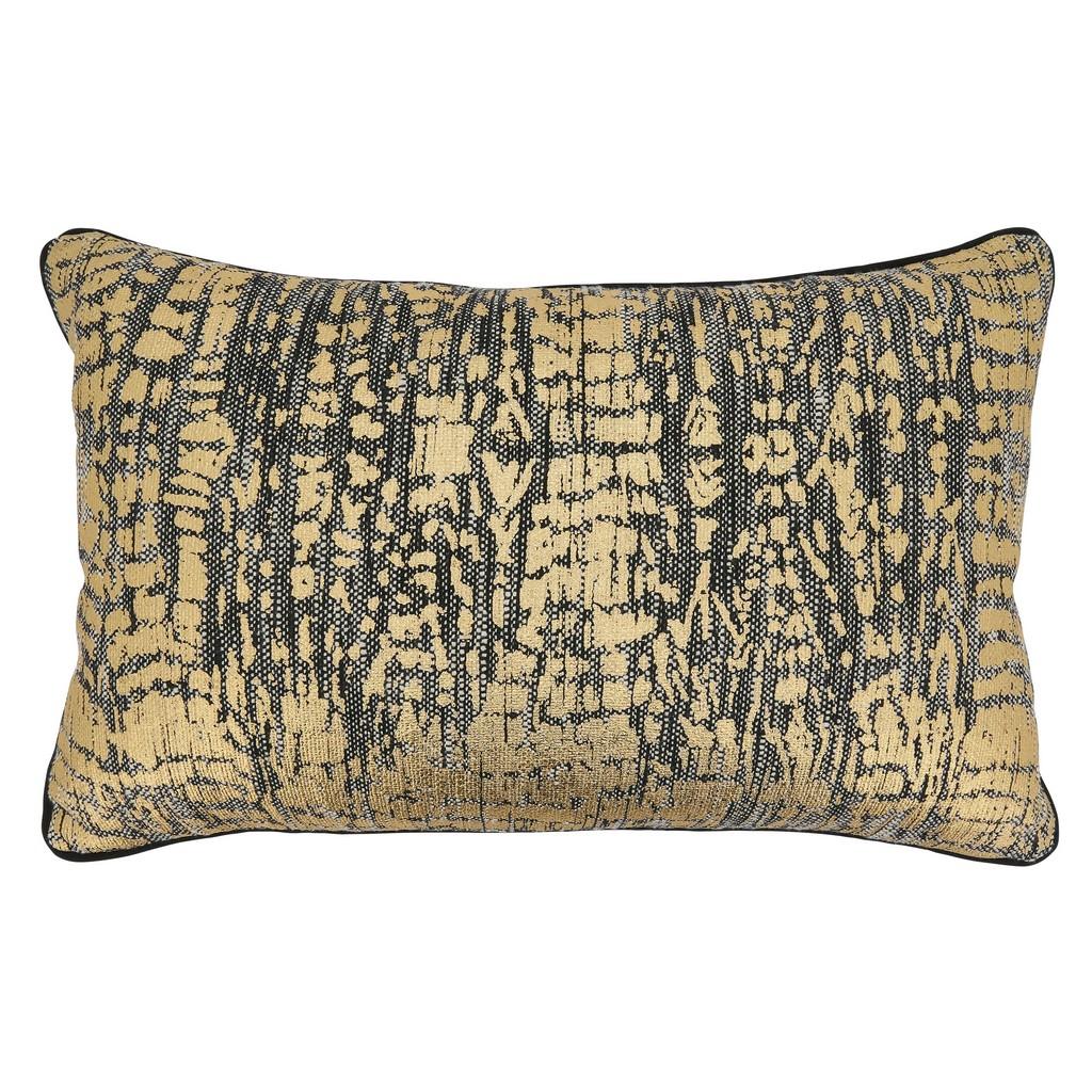 Animal Foil Print Throw Pillow With Down Filling - Saro Lifestyle 9917.GL1422BD