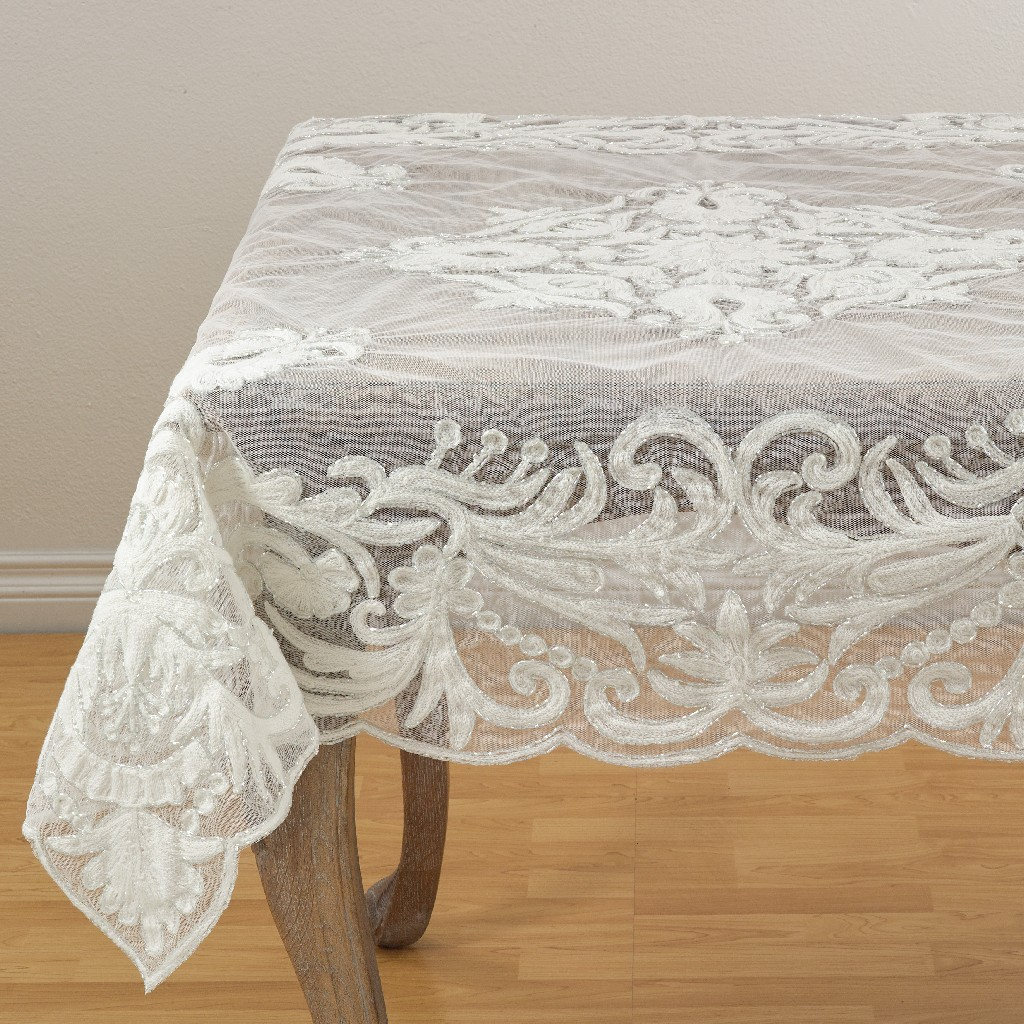 Beaded Embroidered Design Scalloped Tablecloth Saro Lifestyle An02i72s