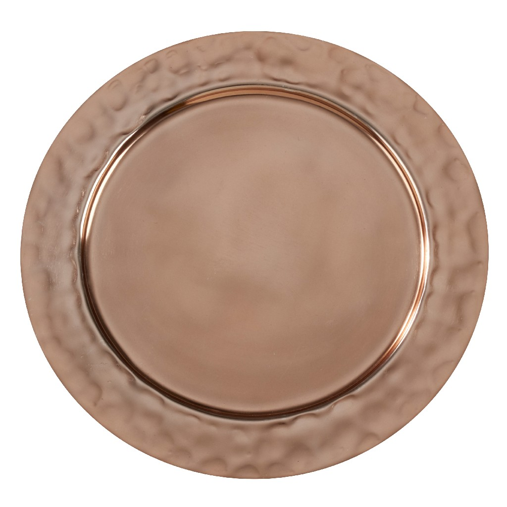 Aluminum Table Chargers w/ Hammered Rim (Set of 4) - Saro Lifestyle CH865.CO13R