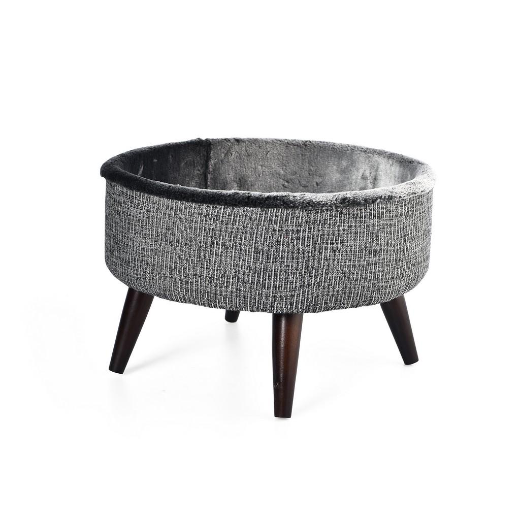 "Cat Craft 16"" Round Bed Grey-Brown Wooden Legs Cat Furniture - 4309201"