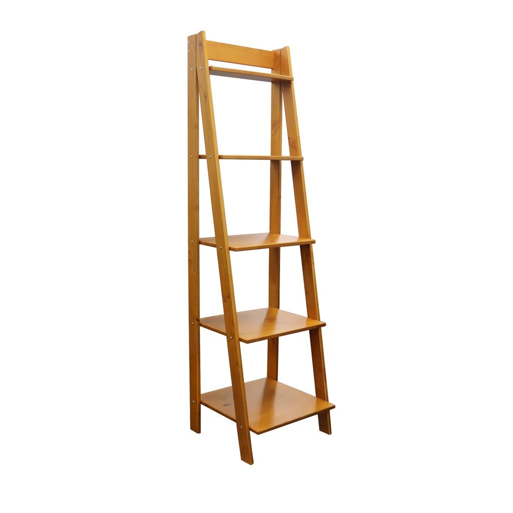Solid Wood Split 5 Shelf Ladder Unit in Medium Pine - Adeptus 95084