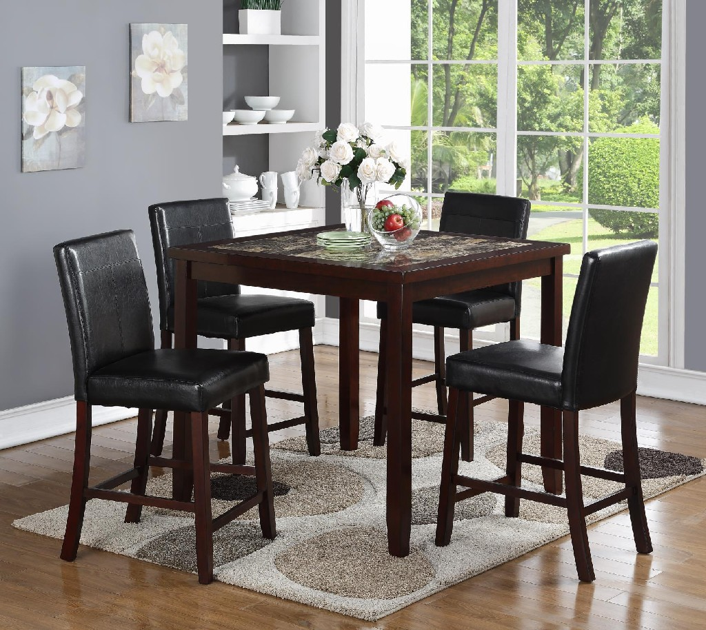 Square Marble Pub Dining Table Chairs Set