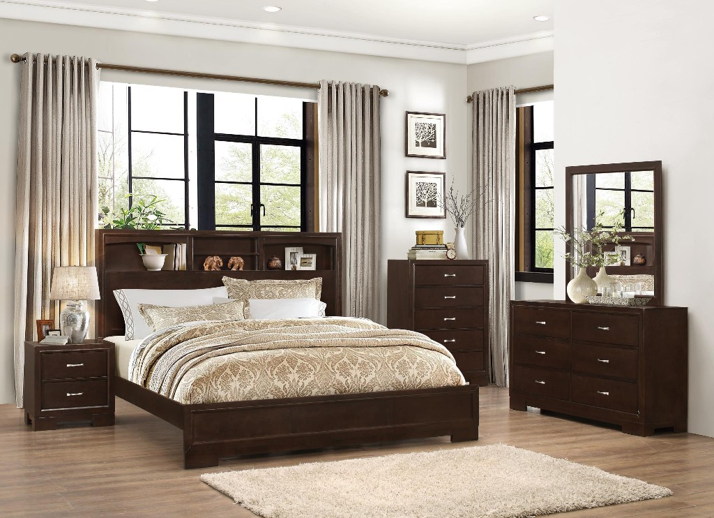 Myco Walnut Bookcase King Bed