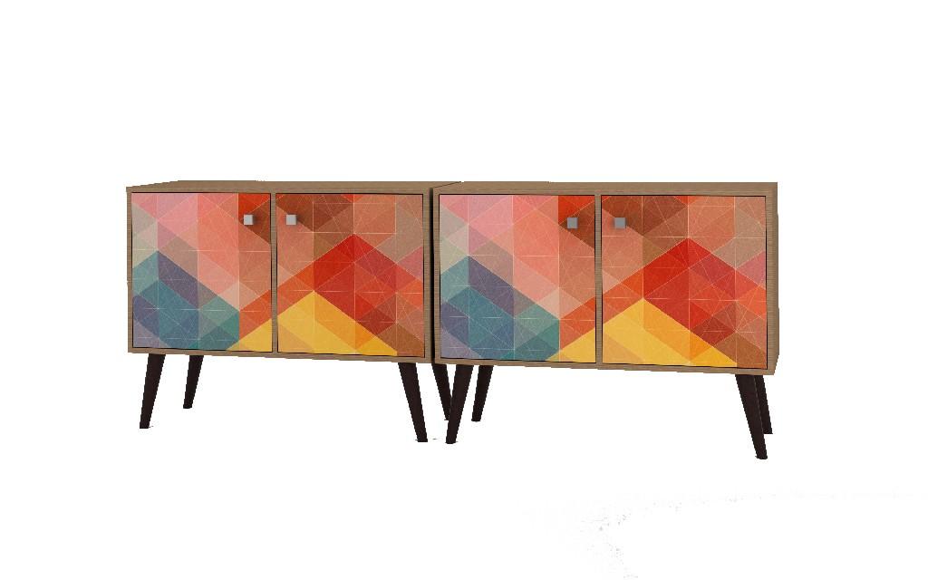 2- Piece Mid Century Modern Avesta Double Side Table in Oak & Stamp - Manhattan Comfort 2-7AMC127