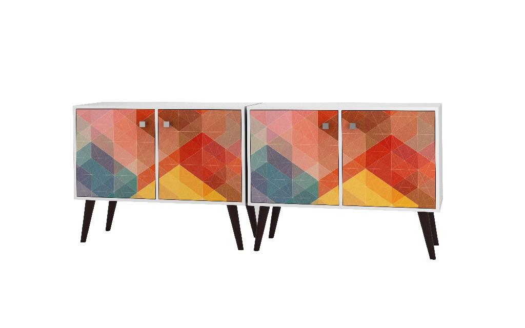 2- Piece Mid Century Modern Avesta Double Side Table in White & Stamp - Manhattan Comfort 2-7AMC131