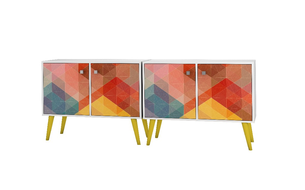 2- Piece Mid Century Modern Avesta Double Side Table in White, Stamp, Yellow - Manhattan Comfort 2-7AMC132