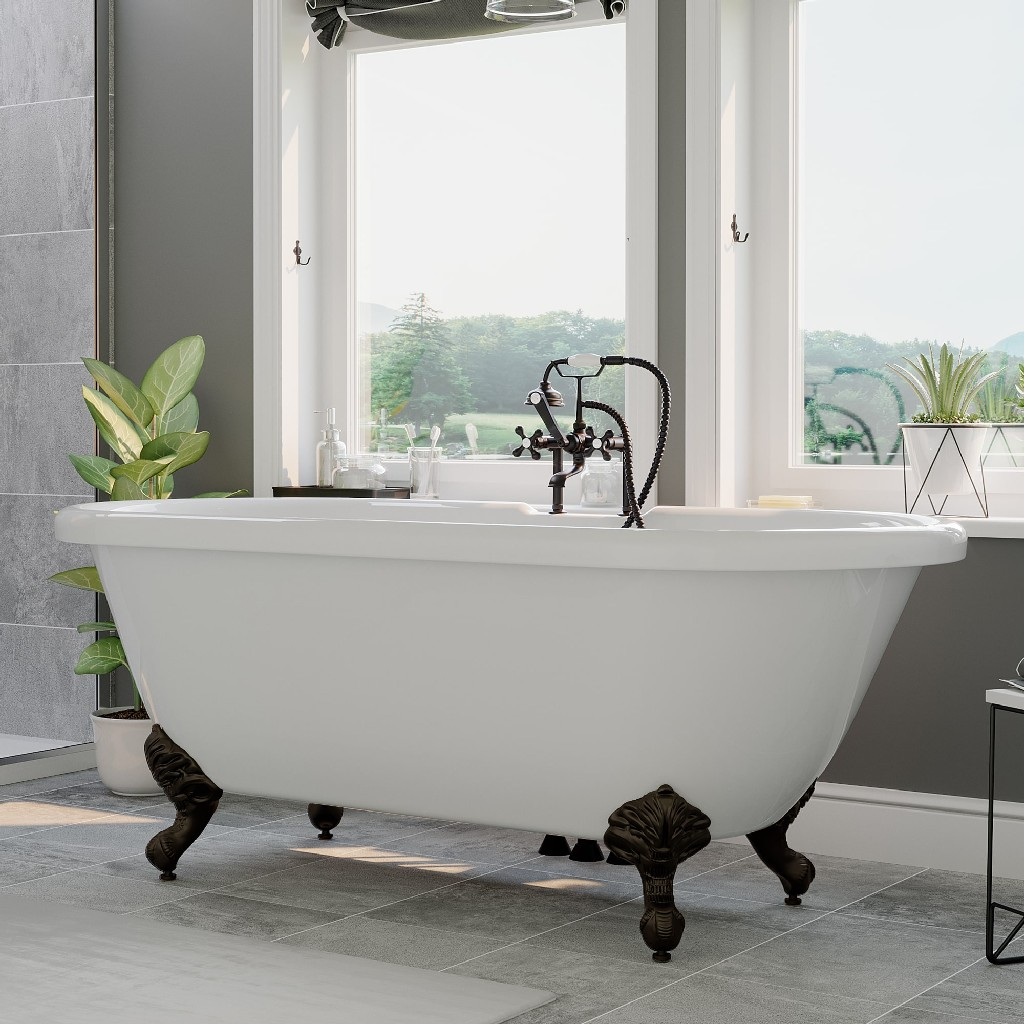 Acrylic Double Ended Clawfoot Bathtub Deck Mount Faucet Oil Rubbed Bronze Plumbing
