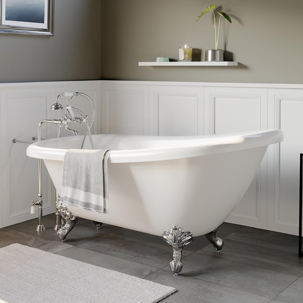 Plumbing   Bathtub   Slipper   Acrylic   Faucet   Polish   Chrome   No