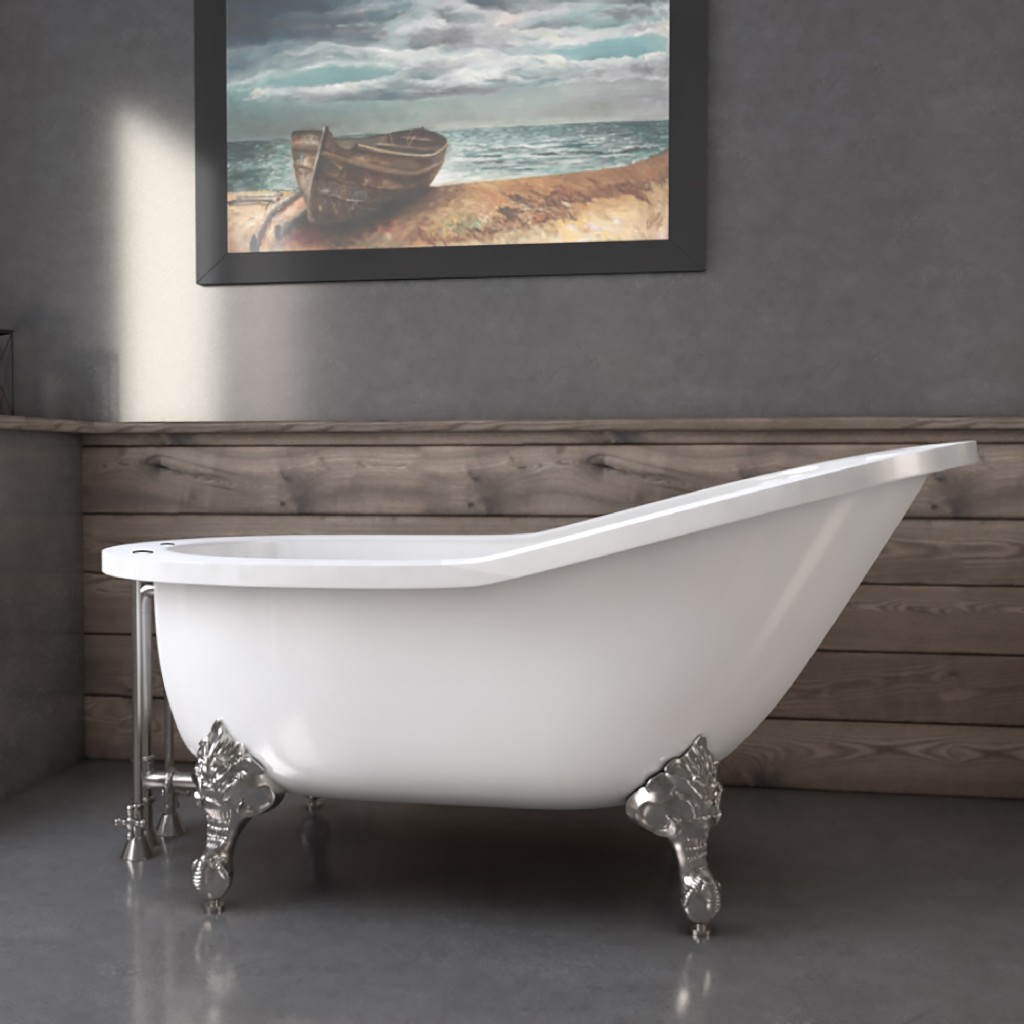 """61"""" Extra Wide Acrylic Slipper Tub w/ 7"""" Deck Mount Faucet Holes & Brushed Nickel Claw Feet - Cambridge AST61XL-DH-BN"""