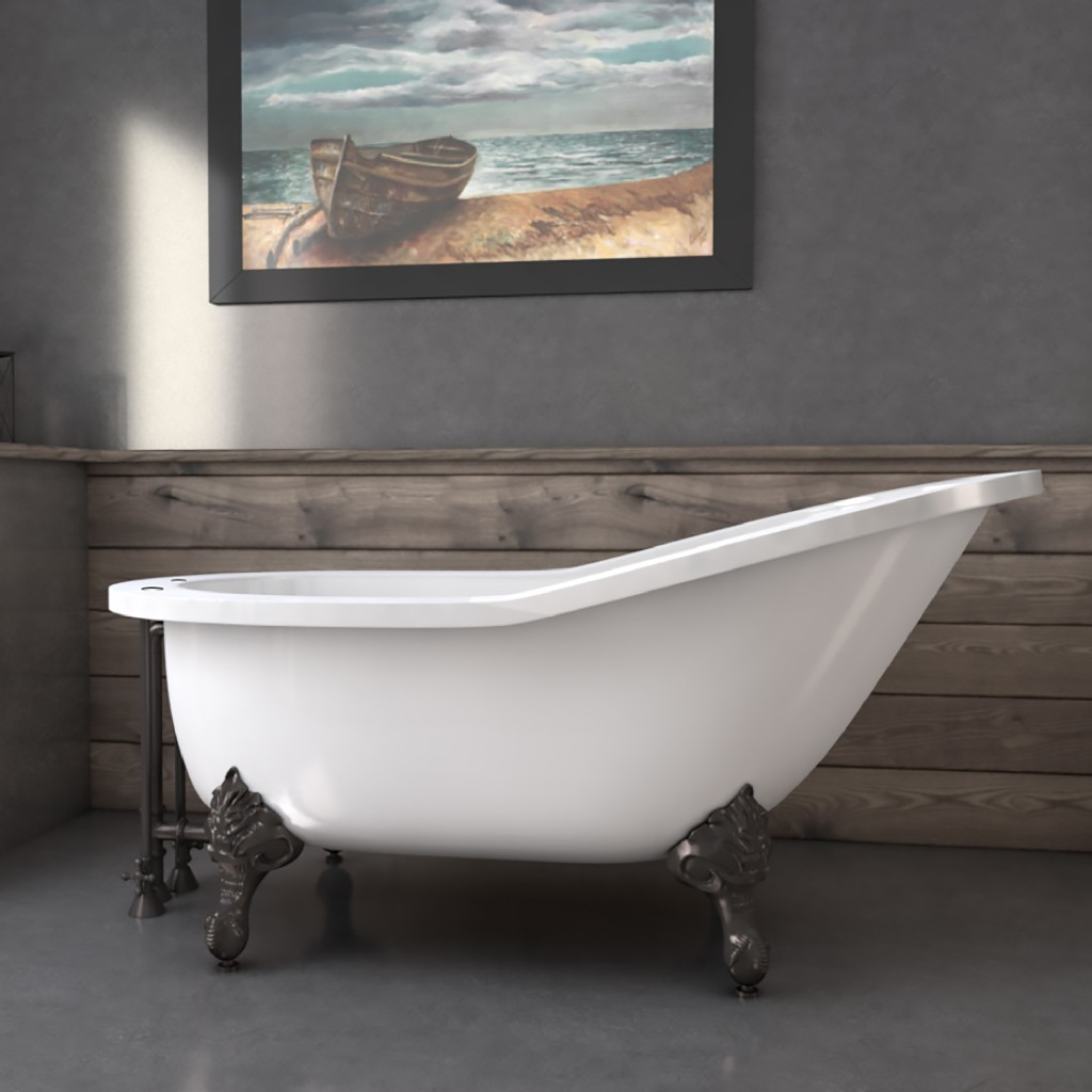 """61"""" Extra Wide Acrylic Slipper Tub w/ 7"""" Deck Mount Faucet Holes & Oil Rubbed Bronze Claw Feet - Cambridge AST61XL-DH-ORB"""