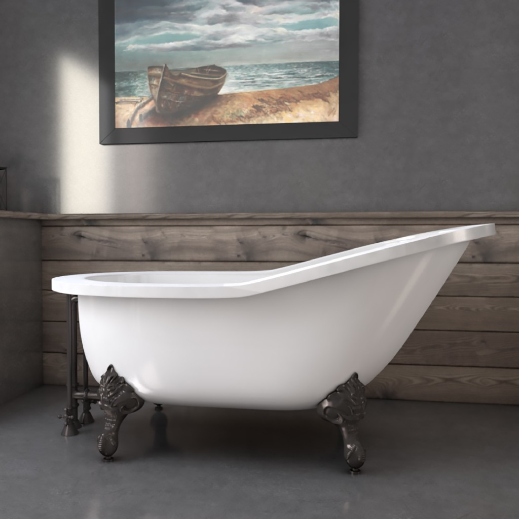 """61"""" Extra Wide Acrylic Slipper Tub w/ No Faucet Holes & Oil Rubbed Bronze Claw Feet - Cambridge AST61XL-NH-ORB"""