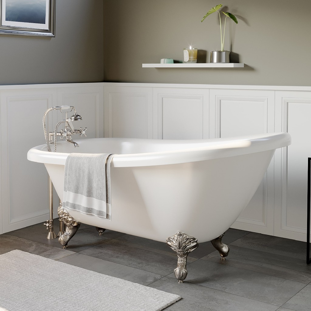 Telephone | Plumbing | Bathtub | Slipper | Acrylic | Faucet | Nickel | Brush | Mount | Deck