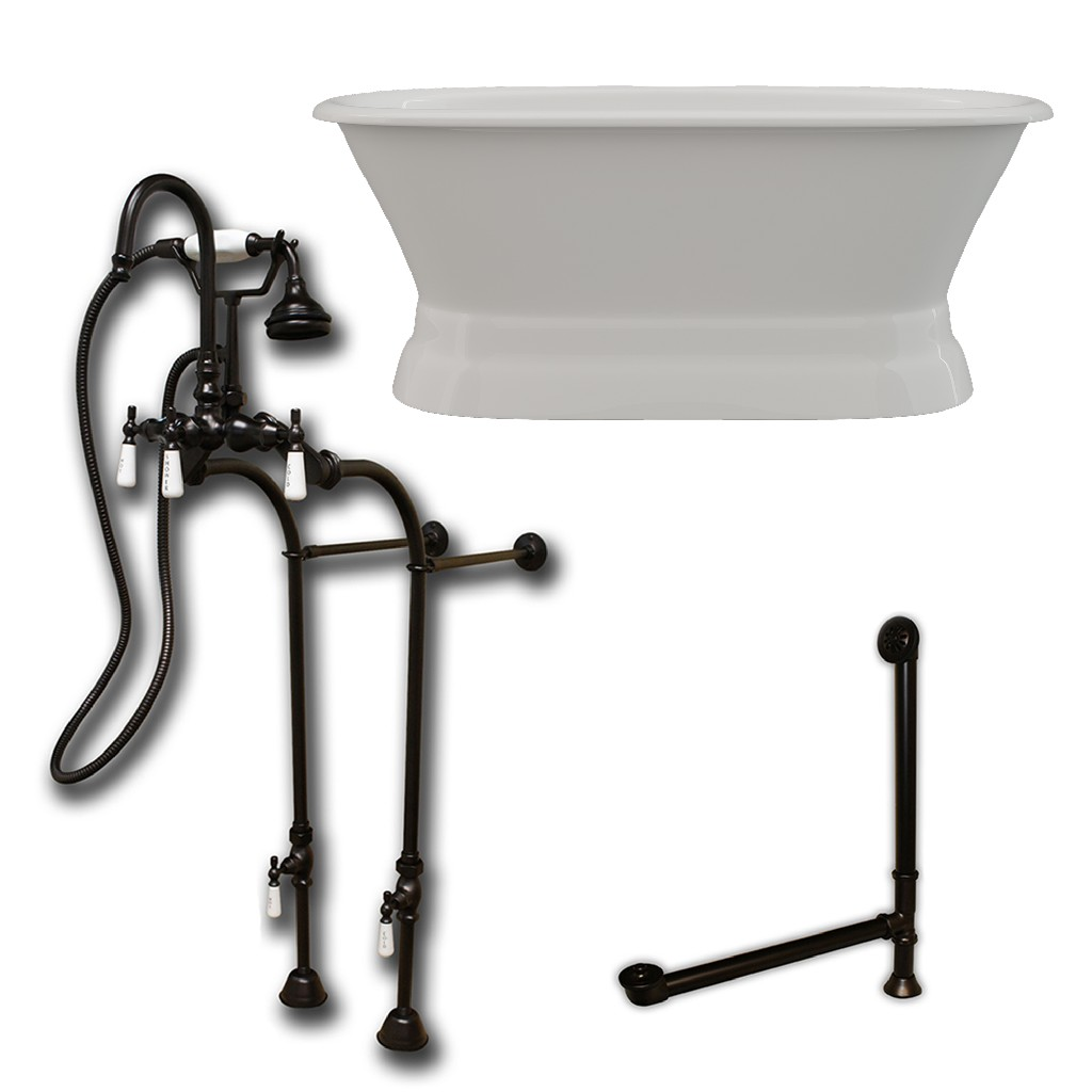 Iron Double Ended Pedestal Tub Oil Rubbed Bronze Free Standing English Telephone Faucet Hand Held Shower Assembly Plumbing