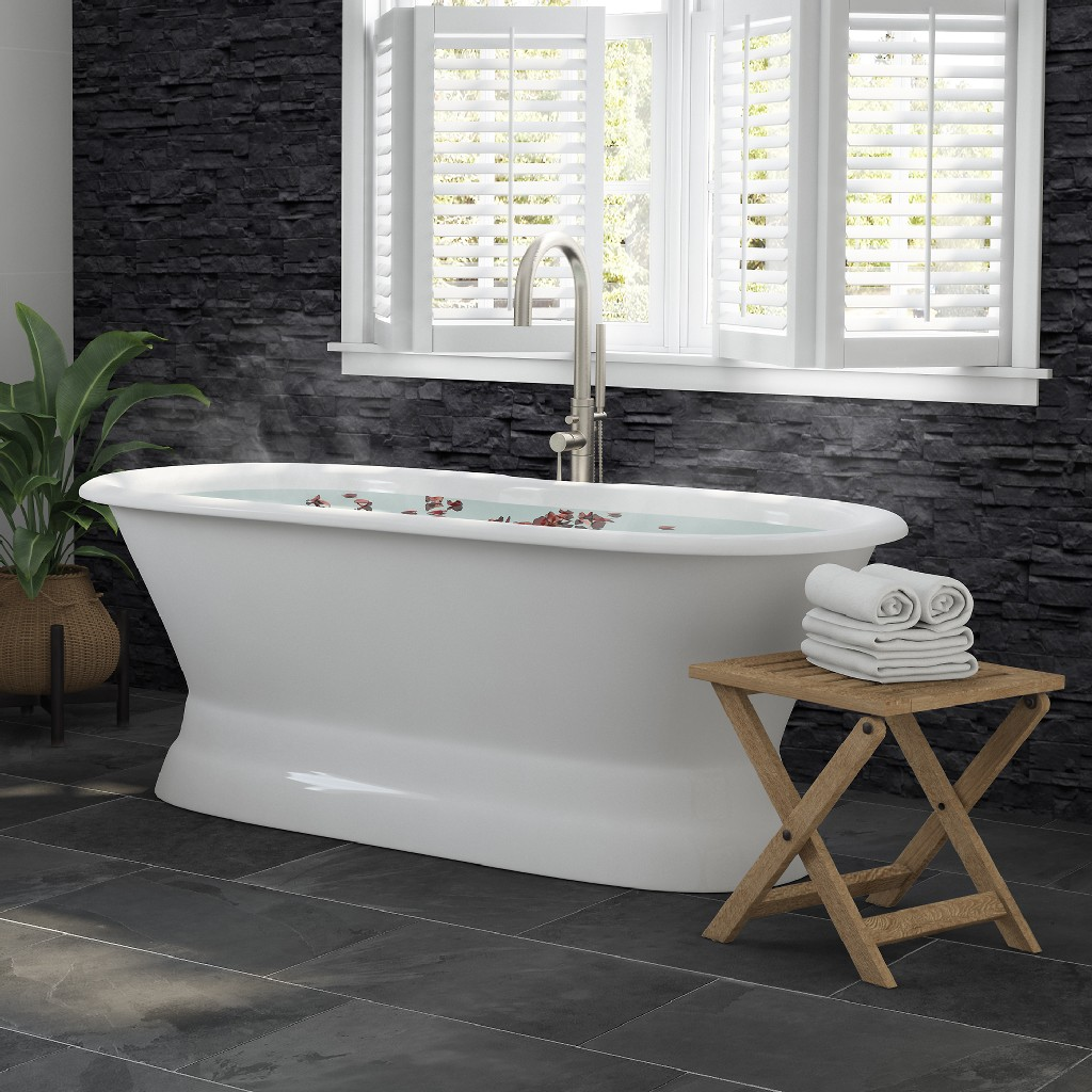 """66"""" Cast Iron Dual Ended Pedestal Bathtub w/ No Faucet Drillings & Complete Plumbing Package In Brushed Nickel - Cambridge DE66-PED-150-PKG-BN-NH"""