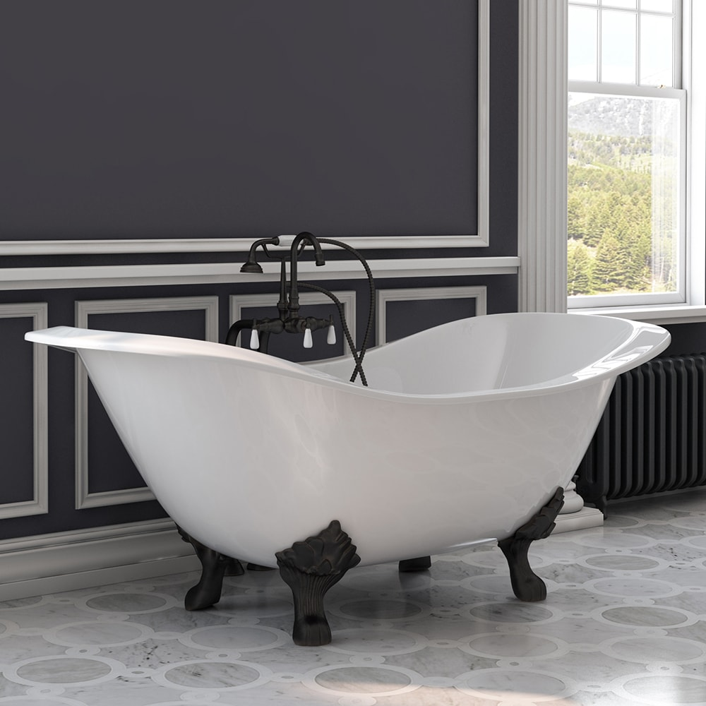 Telephone | Plumbing | Slipper | Rubbed | Shower | Faucet | Bronze | Double | Stand | Iron | Tub | Oil | No