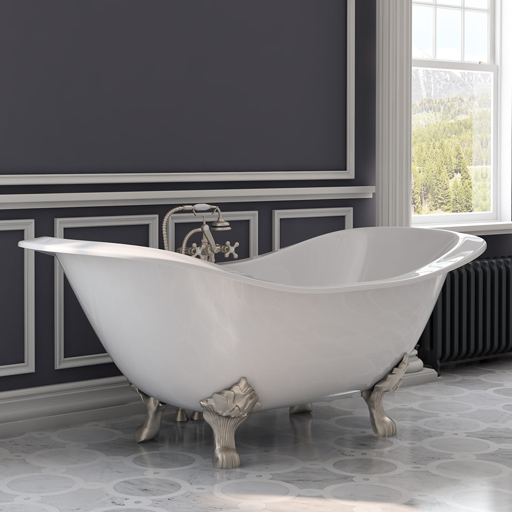 Plumbing | Slipper | Faucet | Nickel | Double | Brush | Mount | Iron | Deck | Tub