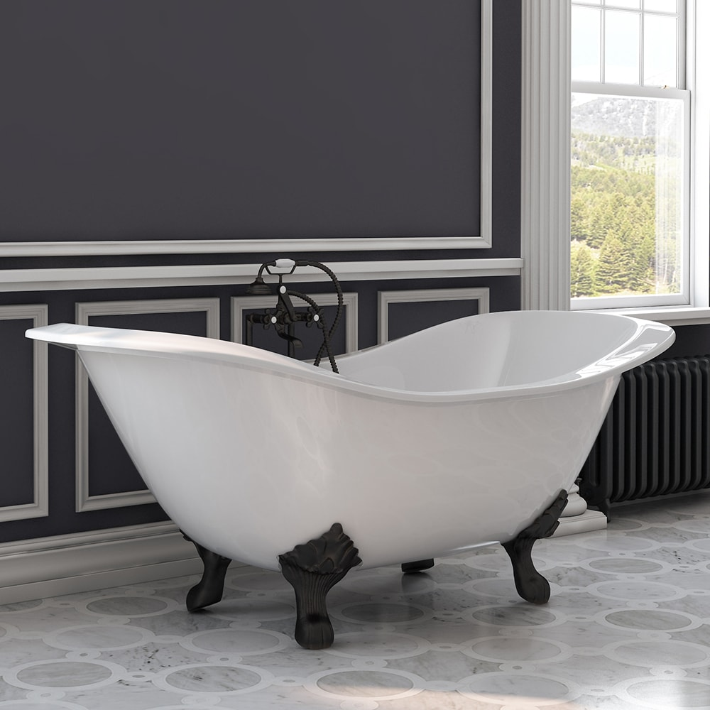 Iron Double Ended Tub Deck Mount Faucet Oil Rubbed Bronze Feet