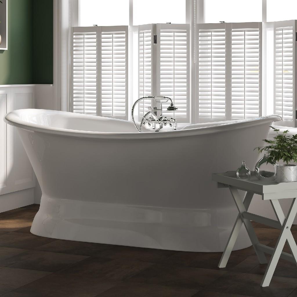 Plumbing | Slipper | Faucet | Polish | Double | Chrome | Mount | Iron | Deck | Tub