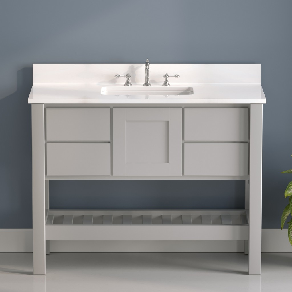 Gray Bathroom VanityWhite Plumbing