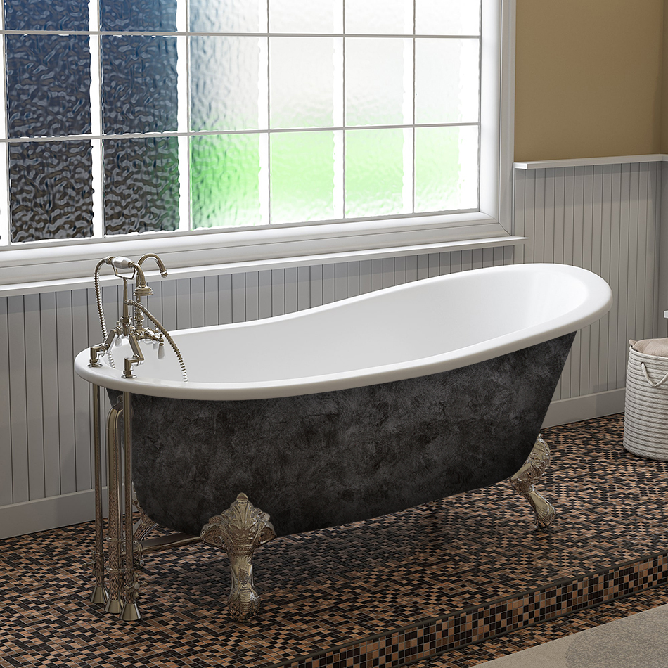 Iron Bathtub With Deck Mount Faucet Holes Polished Chrome Ball Claw Feet