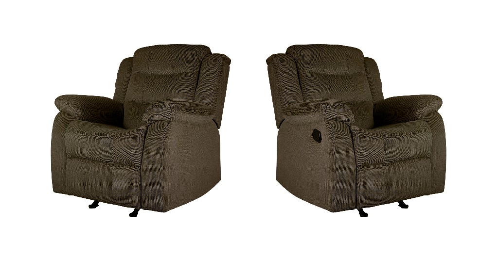 Myco Candice Recliner Loveseat Taupe Polyester Fabric