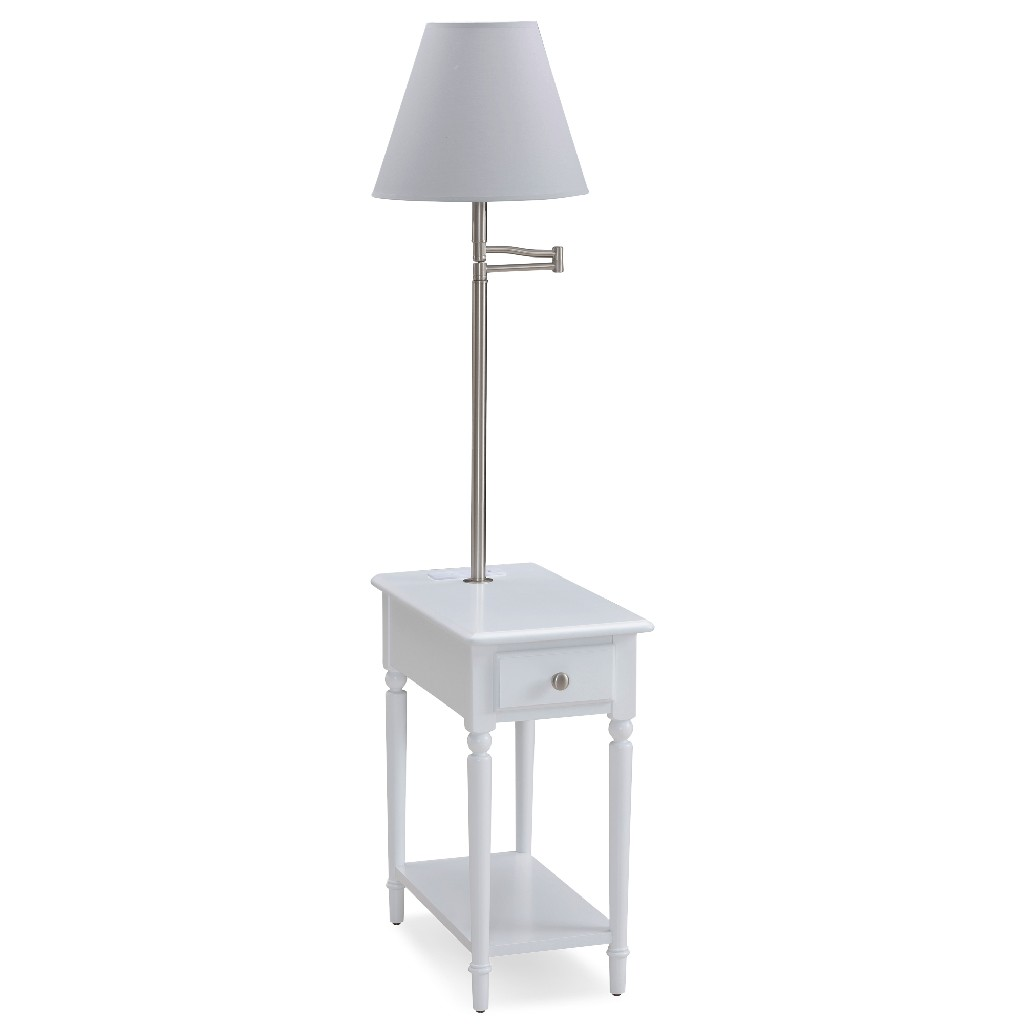 Coastal Notions Orchid White Chairside Lamp Table w/ AC/USB Charger in Orchid White