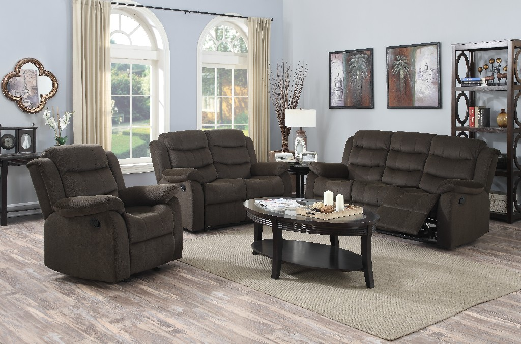 Myco Candice Recliner Loveseat Brown Polyester Fabric