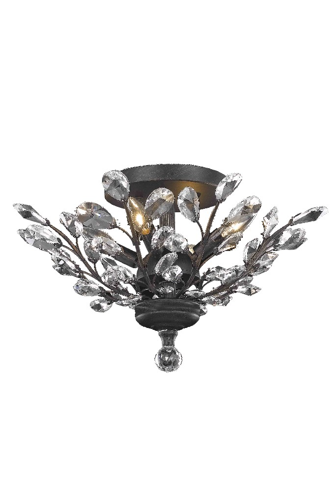 Elegant Lighting Light Dark Bronze Flush Mount Clear Elegant Cut Crystal