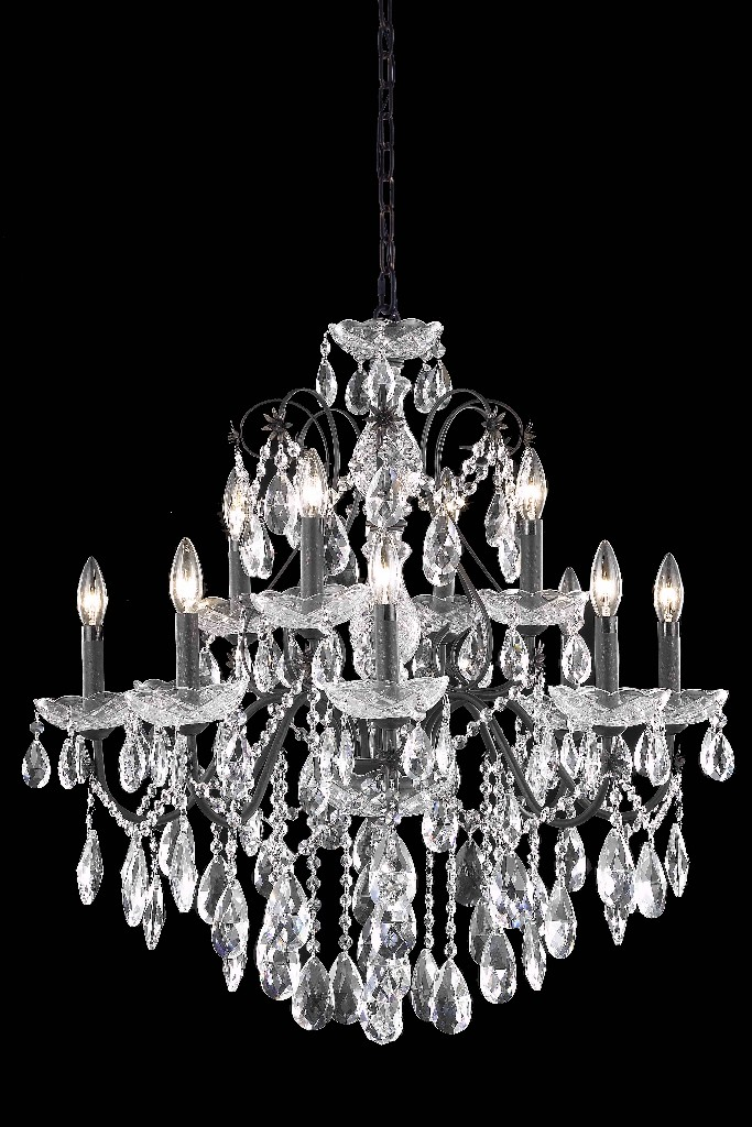 Lighting Bronze Chandelier Light Cut Crystal