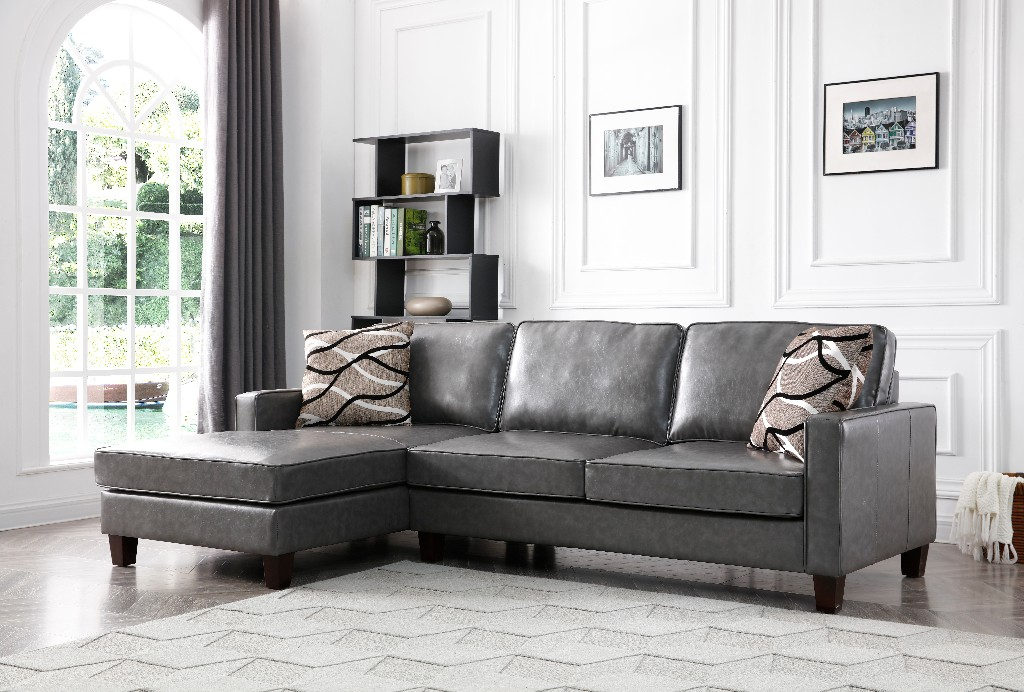 Myco Glenbrook Gray Faux Leather Sectional