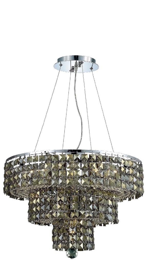 Elegant Lighting Light Chrome Chandelier Golden Teak Smoky Royal Cut Crystal