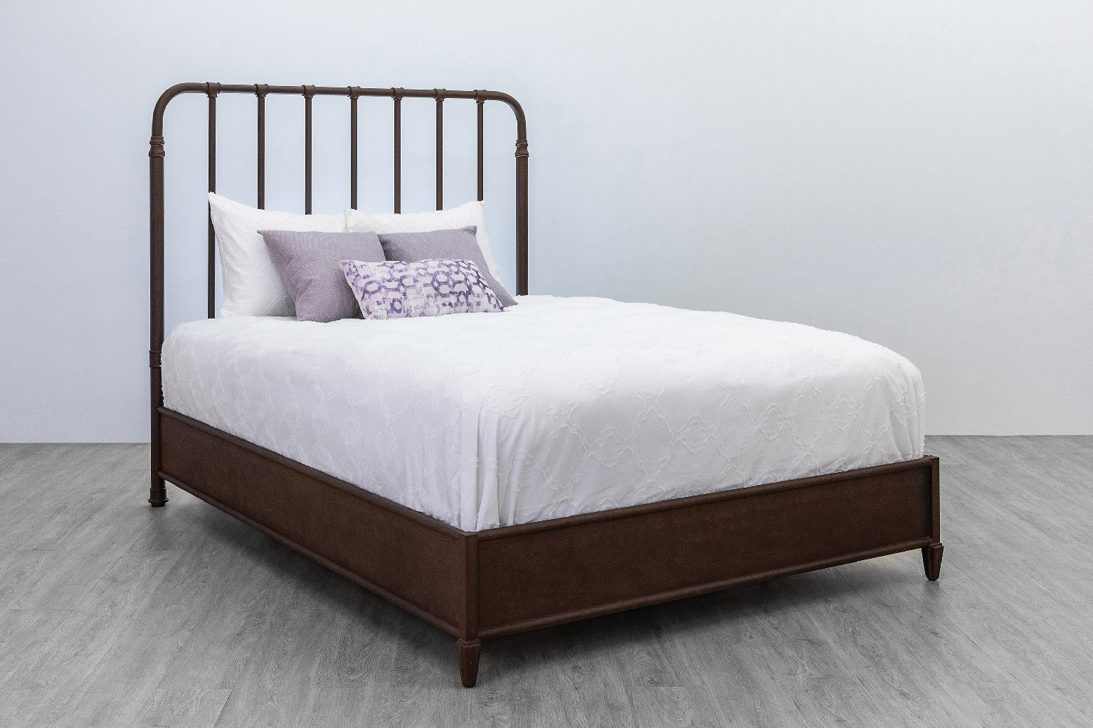 Andrea Metal Platform Bed w/ Headboard in Aged Rust Finish - Made in the U.S.A - Taylor Gray Home 10356TGHHB