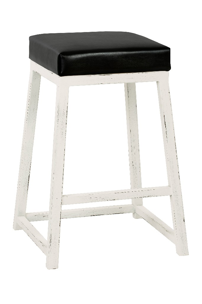 """Arden 26"""" Counter Height Metal Backless Barstool in Cantina Black Faux Leather & Distressed White Finish - Taylor Gray Home B235H26BLK"""