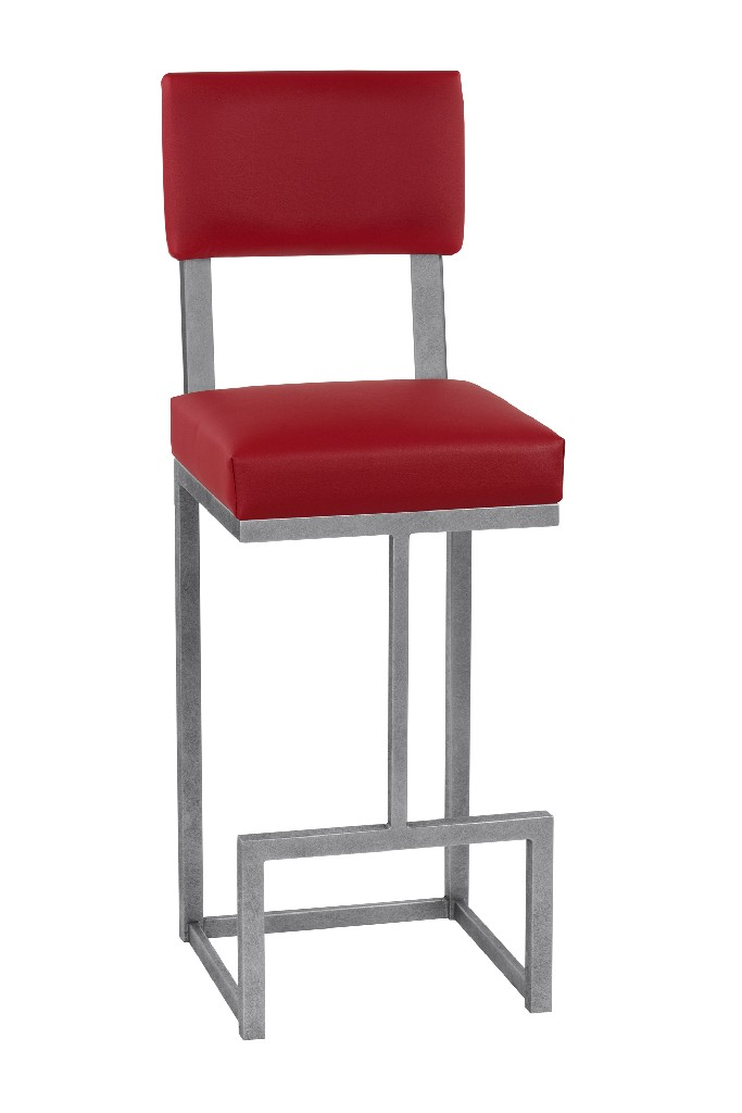 """Aria 26"""" Counter Height Metal Barstool in Lipstick Red Faux Leather & Silver Bisque Finish - Taylor Gray Home B236H26"""