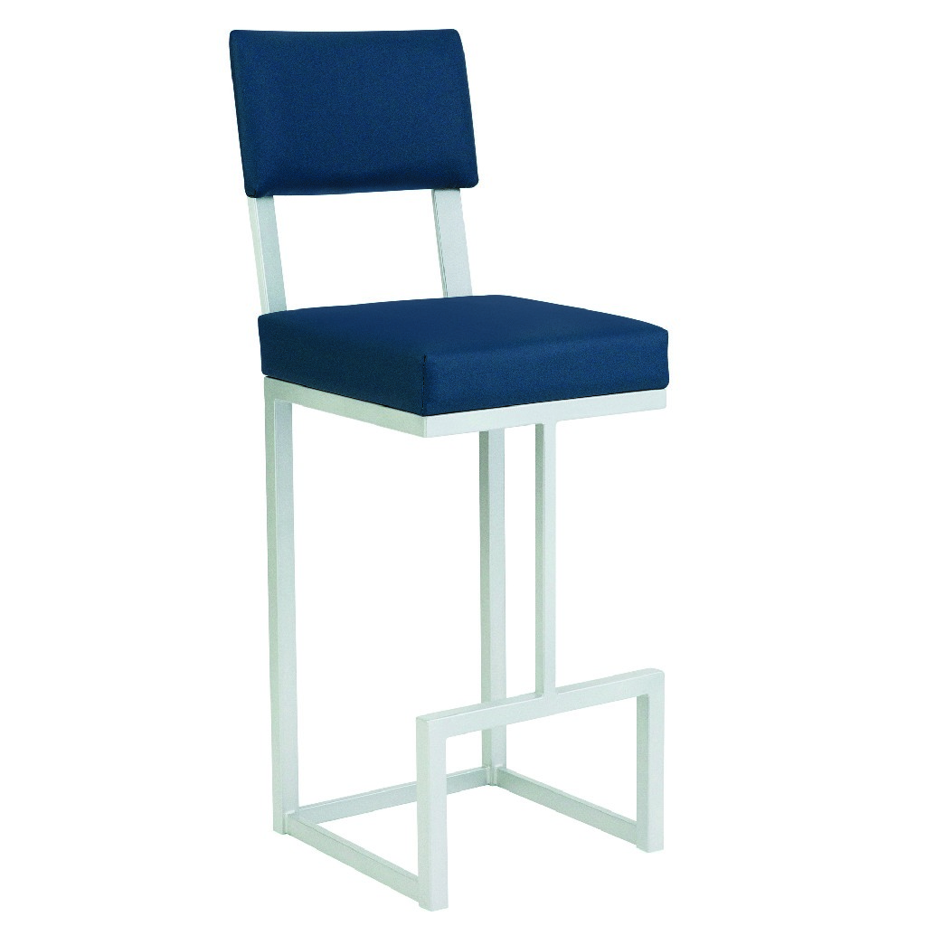 """Aria 30"""" Bar Height Metal Barstool in Dillon Williamsburg Faux Leather & Opaque Light Silver Finish - Taylor Gray Home B236H30XSBL"""