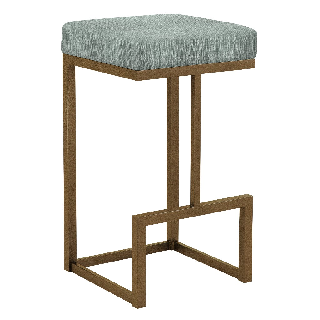 """Barcelona 26"""" Counter Height Metal Backless Barstool in Light Gray Musclebeach 15 Performance Fabric & Copper Bisque Finish - Made in the U.S.A. - Taylor Gray Home B237H26BMB15"""