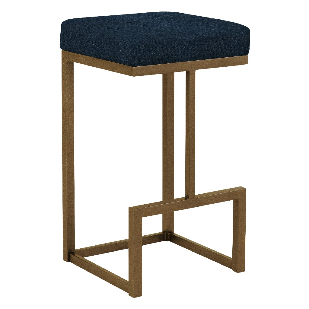 """Barcelona 26"""" Counter Height Metal Backless Barstool in Blue Max 81 Performance Fabric & Copper Bisque Finish - Made in the U.S.A. - Taylor Gray Home B237H26BMX81"""