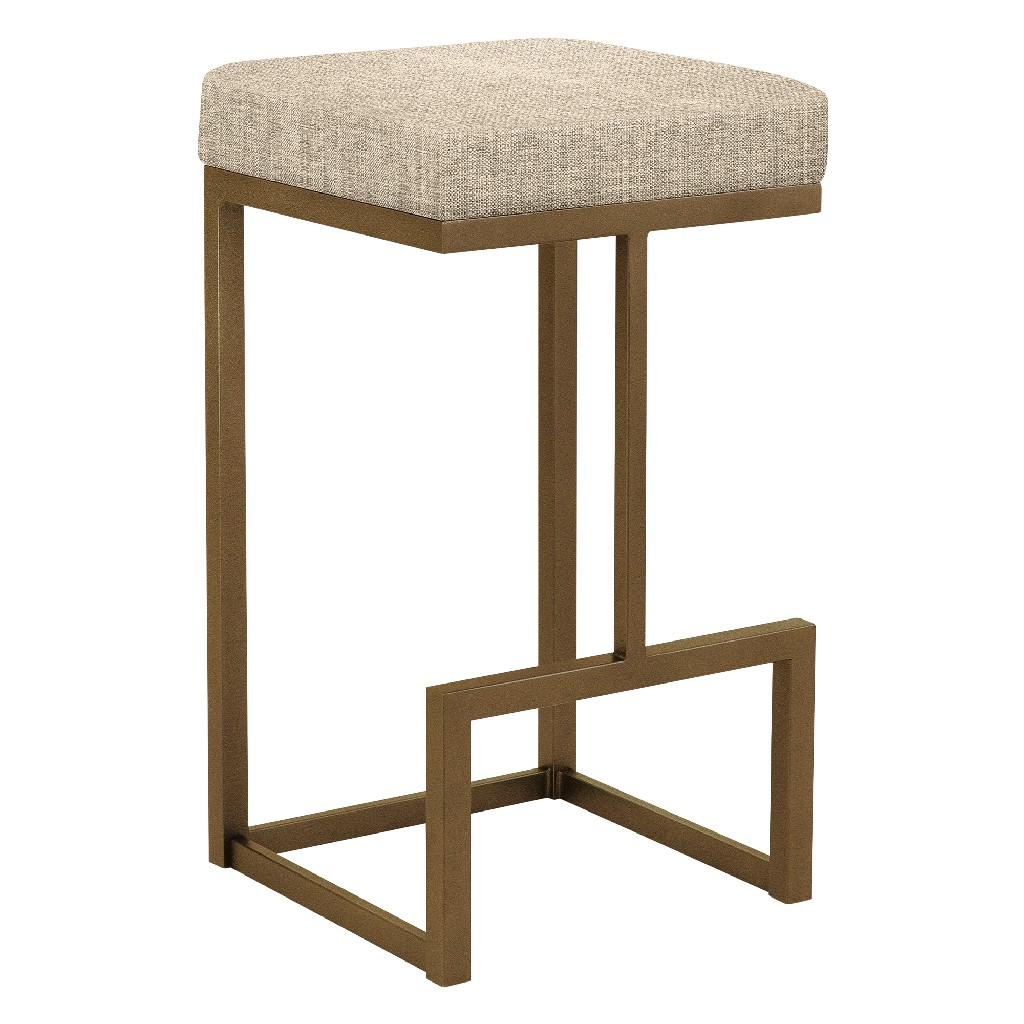 """Barcelona 26"""" Counter Height Metal Backless Barstool in Beige Sugarshack 17 Performance Fabric & Copper Bisque Finish - Made in the U.S.A. - Taylor Gray Home B237H26BSH17"""