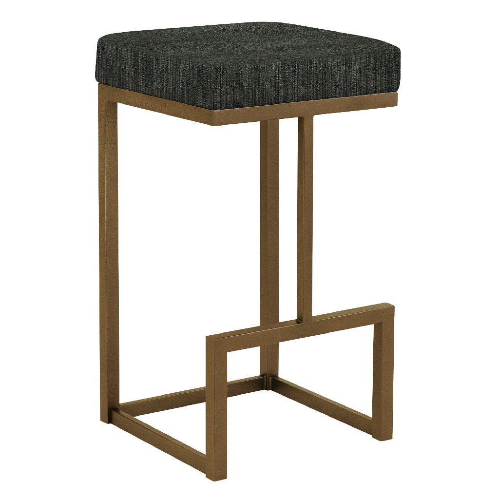 """Barcelona 26"""" Counter Height Metal Backless Barstool in Charcoal Sugarshack 33 Performance Fabric & Copper Bisque Finish - Made in the U.S.A. - Taylor Gray Home B237H26BSH33"""