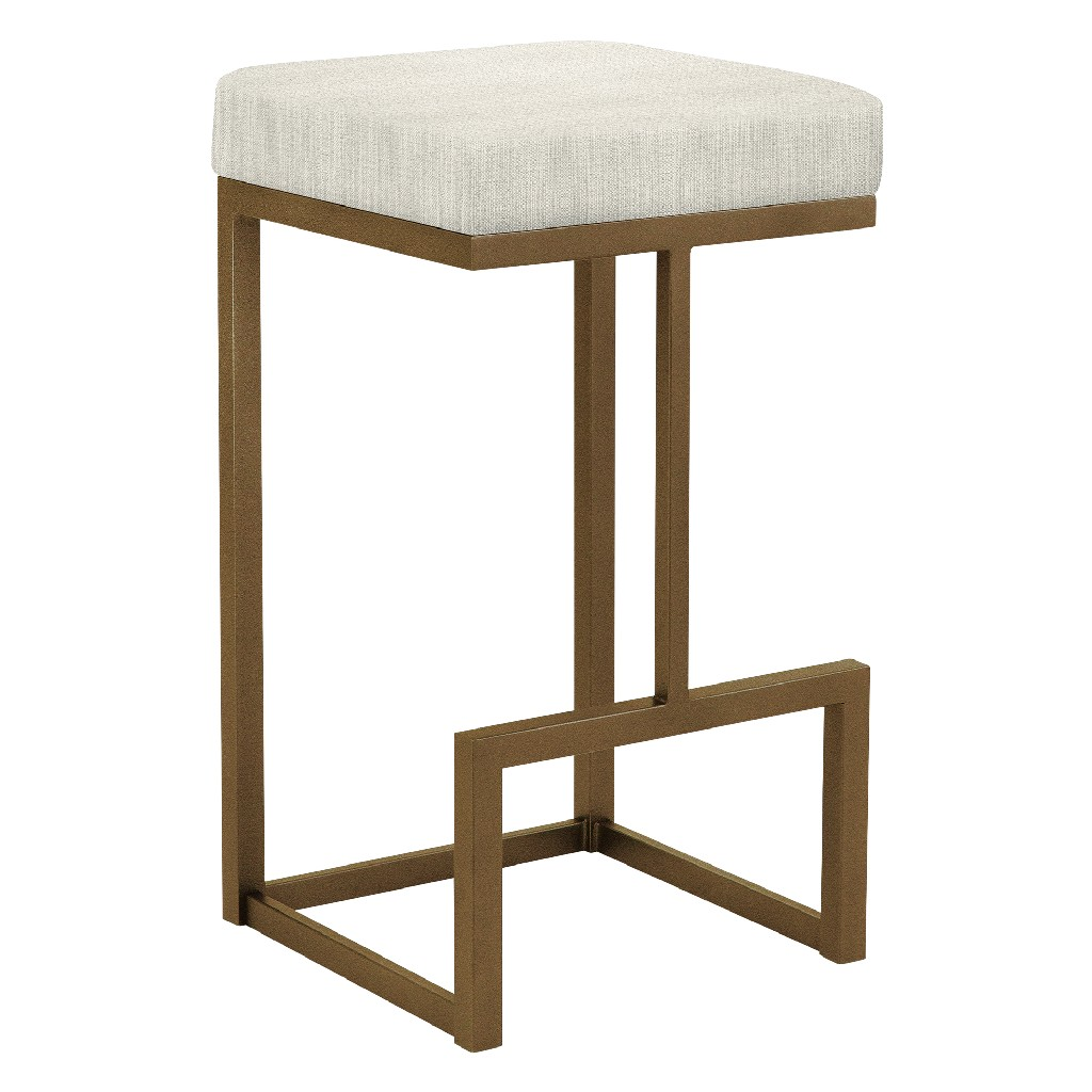 """Barcelona 26"""" Counter Height Metal Backless Barstool in Cream Sugarshack 85 Performance Fabric & Copper Bisque Finish - Made in the U.S.A. - Taylor Gray Home B237H26BSH85"""