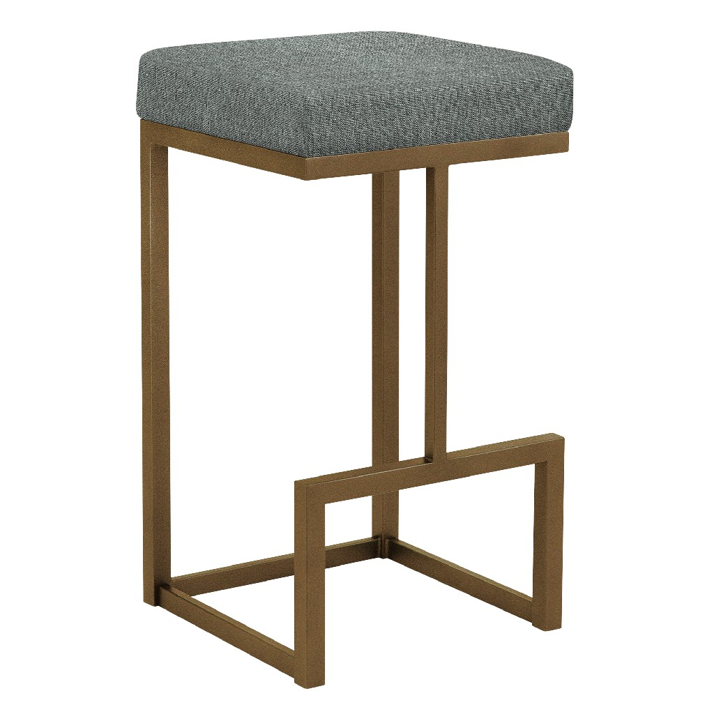 """Barcelona 26"""" Counter Height Metal Backless Barstool in Gray Sugarshack 87 Performance Fabric & Copper Bisque Finish - Made in the U.S.A. - Taylor Gray Home B237H26BSH87"""