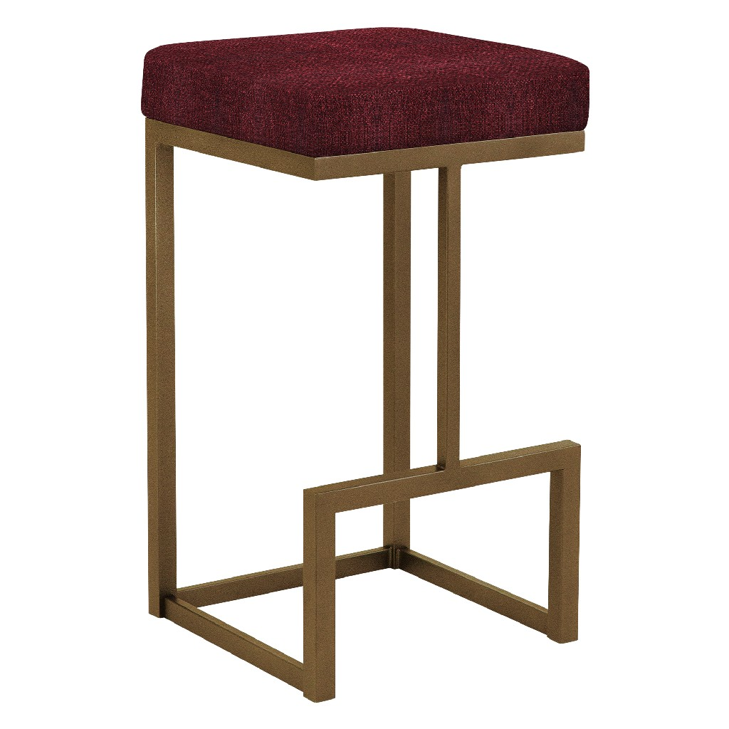 """Barcelona 26"""" Counter Height Metal Backless Barstool in Red Whitaker 21 Performance Fabric & Copper Bisque Finish - Made in the U.S.A. - Taylor Gray Home B237H26BWT21"""