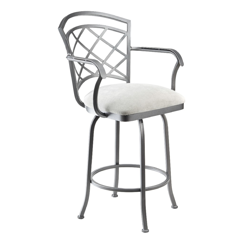 """Athens 26"""" Counter Height Metal Swivel Barstool in Sonoma Seagrey Fabric & Flint Rock Grey Finish - Taylor Gray Home B515H26AS"""