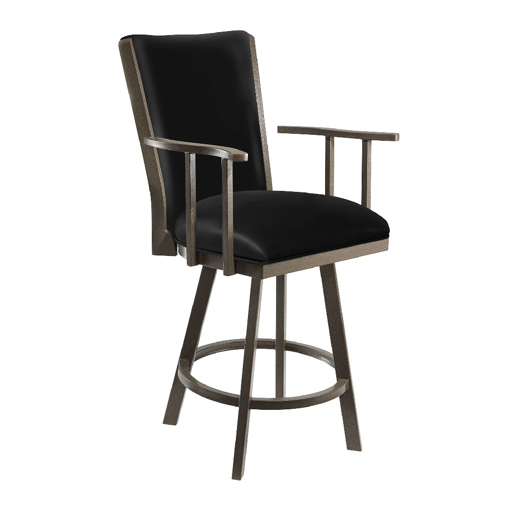 """Alex 26"""" Counter Height Metal Swivel Barstool in Cantina Black Faux Leather & Mocha Grey Finish - Taylor Gray Home B520H26BLK"""