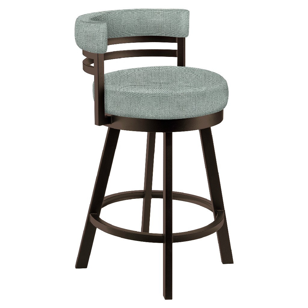 """Baja 26"""" Counter Height Metal Swivel Barstool in Light Gray Musclebeach 15 Performance Fabric & Capuccino Finish - Made in the U.S.A. - Taylor Gray Home B521H26GRAYMB15"""