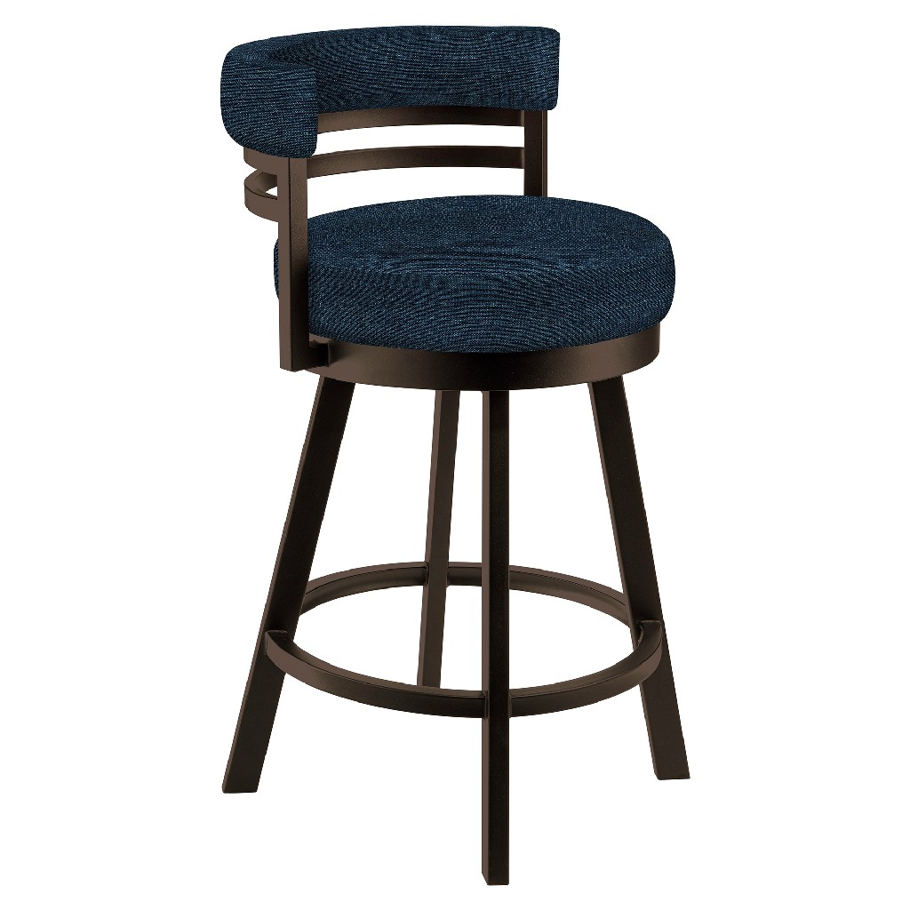 """Baja 26"""" Counter Height Metal Swivel Barstool in Blue Max 81 Performance Fabric & Capuccino Finish - Made in the U.S.A. - Taylor Gray Home B521H26GRAYMX81"""