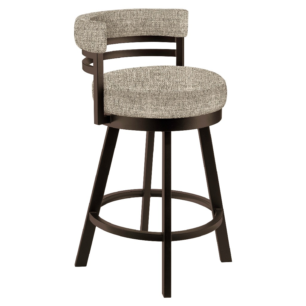 """Baja 26"""" Counter Height Metal Swivel Barstool in Beige Sugarshack 17 Performance Fabric & Capuccino Finish - Made in the U.S.A. - Taylor Gray Home B521H26GRAYSH17"""
