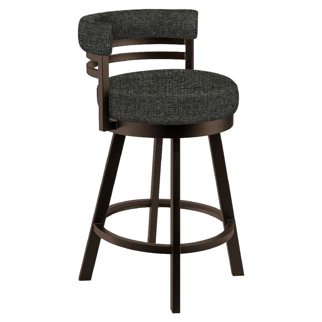 """Baja 26"""" Counter Height Metal Swivel Barstool in Charcoal Sugarshack 33 Performance Fabric & Capuccino Finish - Made in the U.S.A. - Taylor Gray Home B521H26GRAYSH33"""